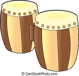 Bongos - A set of bongos on a white background