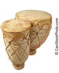 bongos - vertical image of isolated bongo drums
