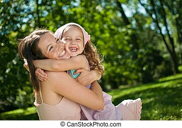 bonheur, -, mère, à, elle, enfant