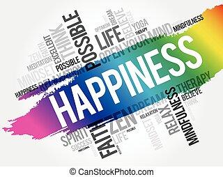 bonheur, nuage, collage, mot