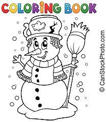 bonhomme de neige, 1, thème, livre coloration