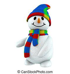 bonhomme de neige, 3d, point