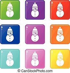 bonhomme de neige, 9, ensemble, icônes