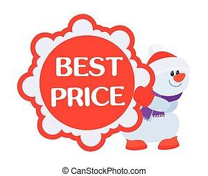 bonhomme de neige, affiche, coût, vente, escomptes, mieux