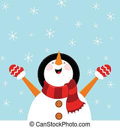 bonhomme de neige, apprécier, neige
