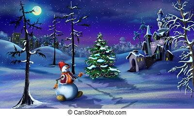 bonhomme de neige, arbre, château, magie, noël