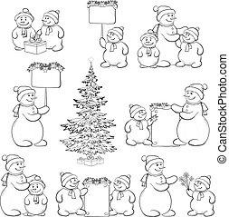 bonhomme de neige, arbre, ensemble, contour, noël