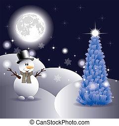 bonhomme de neige, arbre, noël