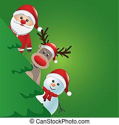 bonhomme de neige, arbre, renne, derrière, santa, noël