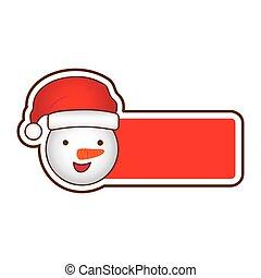 bonhomme de neige, autocollant, dessin animé, conception, bannière, noël