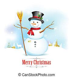 bonhomme de neige, balai, noël, fond