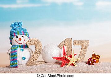 bonhomme de neige, balle, nombre, contre, 0, montant, 2017, sea., instead