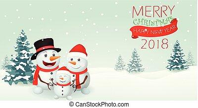 bonhomme de neige, bannière, conception, noël, famille