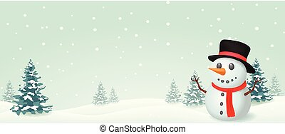 bonhomme de neige, bannière, conception, noël