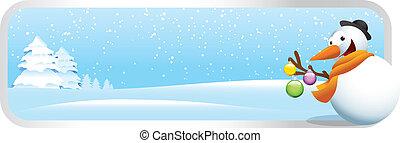 bonhomme de neige, bannière, noël, dessin animé