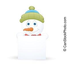 bonhomme de neige, bannière, noël
