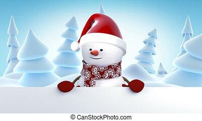 bonhomme de neige, beau, concept, santa, année, rigolote, sourire., animation, hd, nouveau, noël, 1920x1080, heureux, entiers, claus, screen., joyeux, mains, dessin animé, carte, animé, casquette, salutation, vert, 3d