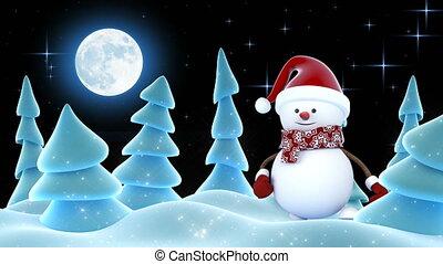 bonhomme de neige, beau, santa, animation., année, sourire, 3840x2160., rigolote, card., concept., 3d, nouveau, chapeau, noël, rouges, heureux, joyeux, mains, dessin animé, hd, animé, salutation, forest., 4k, ultra