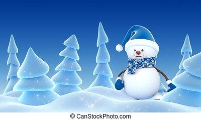 bonhomme de neige, beau, santa, animation., année, sourire, bleu, heureux, card., concept., 3840x2160, nouveau, chapeau, noël, 3d, joyeux, mains, dessin animé, hd, hiver, animé, salutation, forest., 4k, ultra