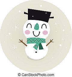 bonhomme de neige, beige, retro, isolé, mignon, garçon, cercle