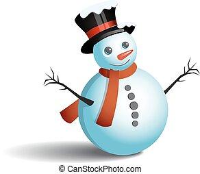 bonhomme de neige, blanc, vecteur, fond, illustration