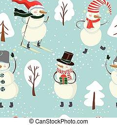 bonhomme de neige, bleu, hiver, couleur, modèle, arbres, seamless, arrière-plan., chapeau, ski, dessin animé