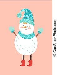 bonhomme de neige, bleu, tricoté, sourire, chapeau, mitaines, écharpe