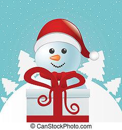 bonhomme de neige, boîte, derrière, cadeau