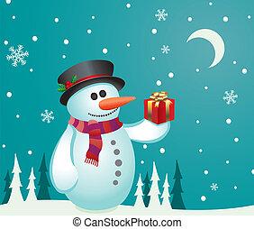 bonhomme de neige, cadeau