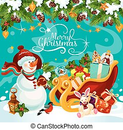 bonhomme de neige, cadeau, salutation, vecteur, noël carte