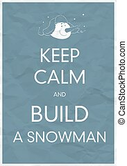 bonhomme de neige, calme, construire, garder