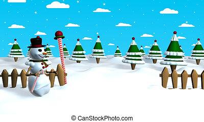 bonhomme de neige, canne, ciel, scène, milieu, retirer, touchers, quand, animation, forêt, chapeau, noël, 3d, sien, il, fond, il, nuages, arbre, bonbon, stars.
