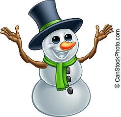 bonhomme de neige, caractère, noël, dessin animé