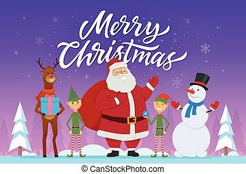 bonhomme de neige, caractères, -, illustration, noël, santa, joyeux, elfes, dessin animé, raindeer