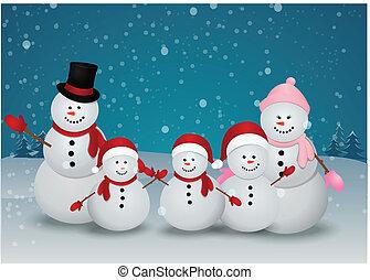 bonhomme de neige, carte, noël, famille