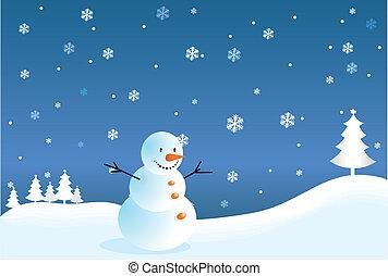 bonhomme de neige, carte postale