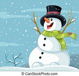 bonhomme de neige, cartoon., vecteur, hiver, heureux