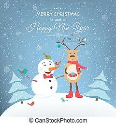 bonhomme de neige, cerf, année, nouveau, noël, heureux