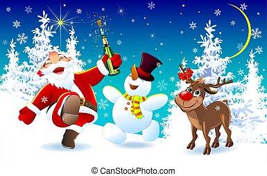bonhomme de neige, cerf, veille, 1, santa, noël, heureux