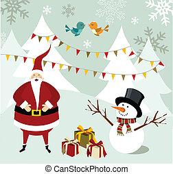 bonhomme de neige, claus, card., santa, noël
