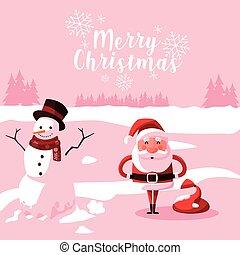 bonhomme de neige, claus, noël, santa