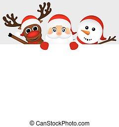 bonhomme de neige, claus, renne, derrière, jeter coup oeil, santa, dehors