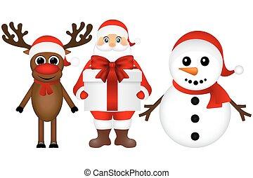 bonhomme de neige, claus, santa, cadeau, renne, dessin animé