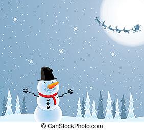 bonhomme de neige, claus, voler, santa, deers