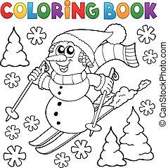 bonhomme de neige, coloration, 1, thème, livre, ski