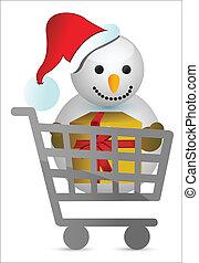 bonhomme de neige, conception, chariot, illustration
