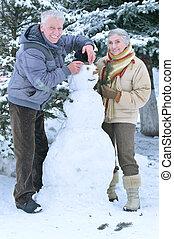 bonhomme de neige, confection, couple, mûrir