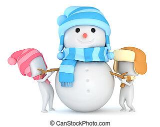 bonhomme de neige, confection, gosses