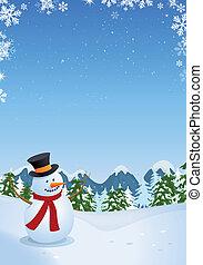 bonhomme de neige, dans, paysage hiver