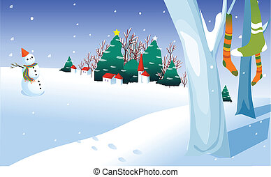 bonhomme de neige, dans, yard